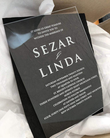 Sezar & Linda - Clear Acrylic Invitation