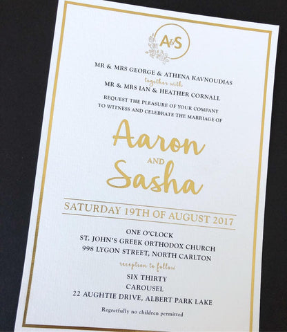 Sasha - Gold Foil Invitation