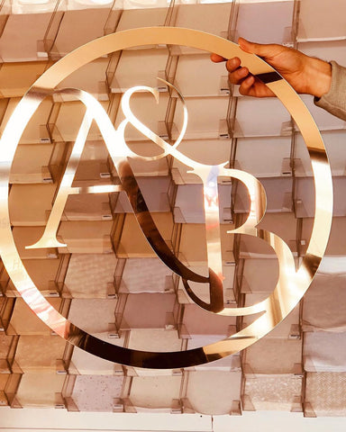 Gold Acrylic Sign - Initials