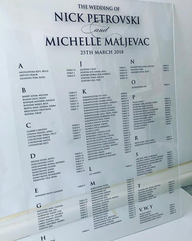 1M.  Clear Acrylic Seating Chart - Black Print