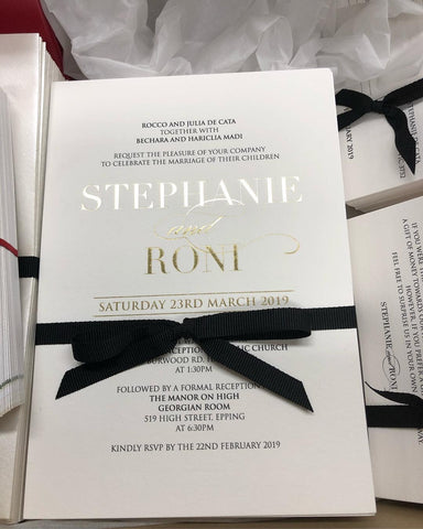 1A.  Stephanie & Ronie Foil Print Invitation