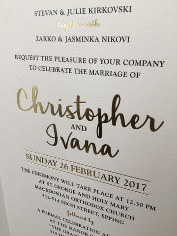 Gold Foil print invitation
