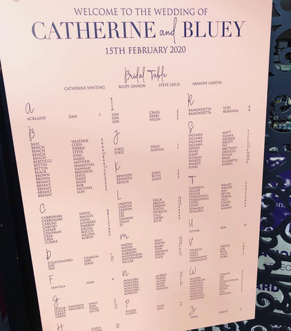 Catherine & Bluey - Seating Chart