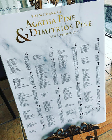 1A.  Gold Foil Seating Chart
