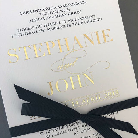 1T.  John & Stephanie Foil Print Invitation