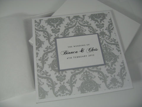 Damask Acetate Hard Cover Invitation