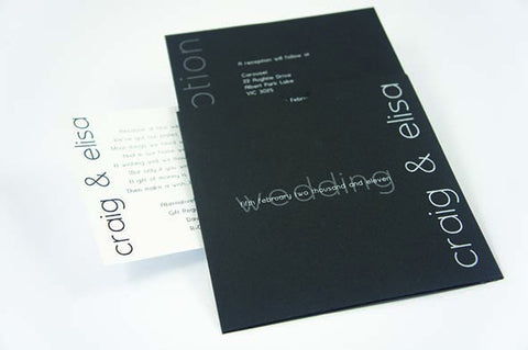 Black Pocket with Slip - Wedding Invitation