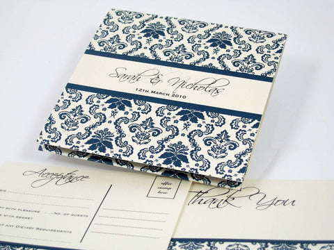 Blue Damask Square Fold - Wedding Invitation
