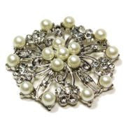 Brooch Pearl Flower & Diamante