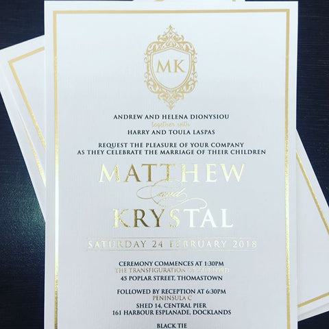 1A - Krystal & Matthew Foil Invitation