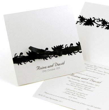 Classic Black Ribbons - Wedding Invitation