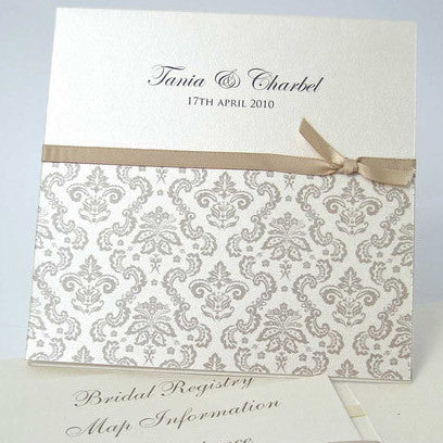 Damask Mink Pocket - Wedding Invitation