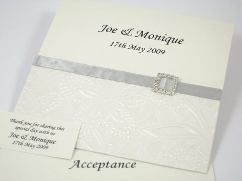 Monique Floral Embossed - Wedding Invitation