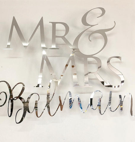 Silver Acrylic Sign - Mr & Mrs