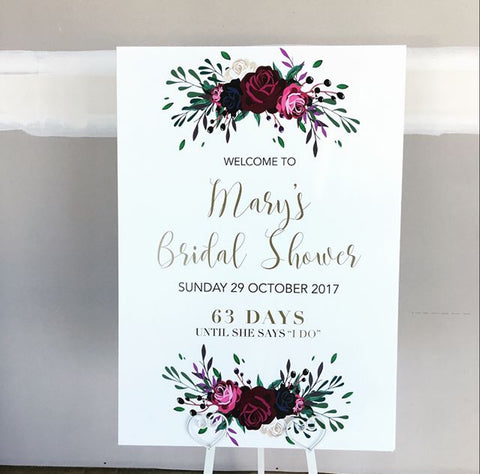 Mary's Bridal Shower - Welcome Board