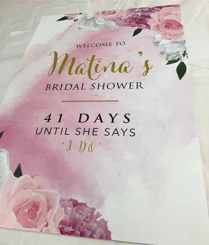 Matina's Bridal Shower Welcome Board