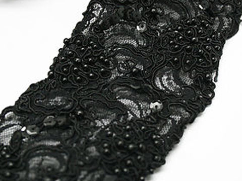 Black Beaded 75mm Width Lace Trim