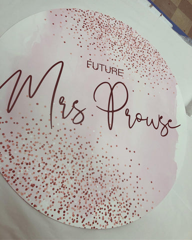 1I.  Mrs Prouse - Round Disc Sign