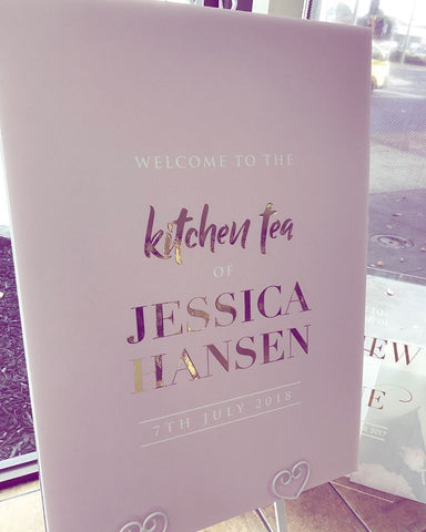 1FF.  Jessica's Kitchen Tea Welcome Board