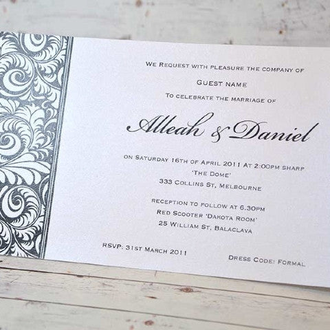 Feather Swirl - Wedding Invitation