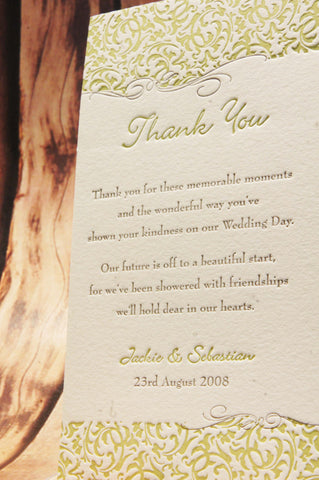 Filigree Ivory - Thank You Card