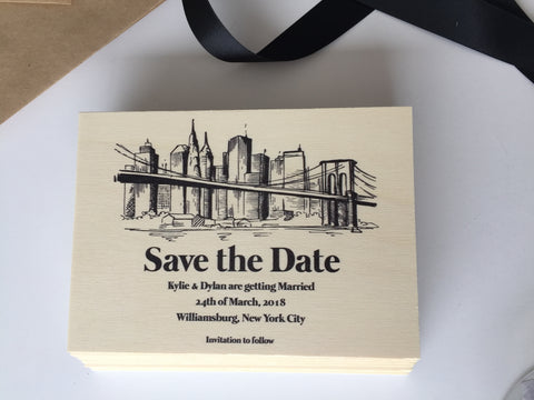 Wooden Save the Date to NY