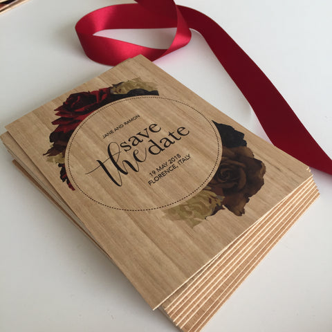 Wooden Save the Date to Florence