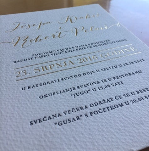 1d.  Indulgence - Letterpress & Foil Invitation