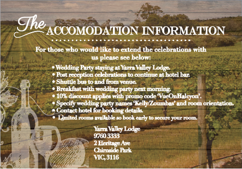 Accommodation Information Card