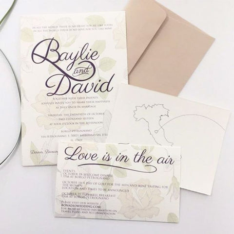 Baylie & David - Destination Wedding Invitation