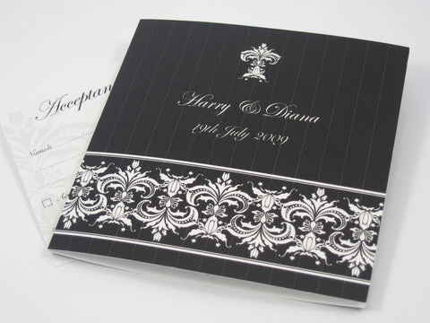 Black Pinstripe Damask - Wedding Invitation