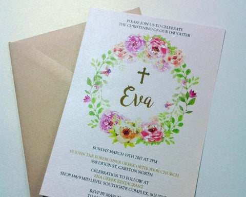 Eva Flora Christening Invitation