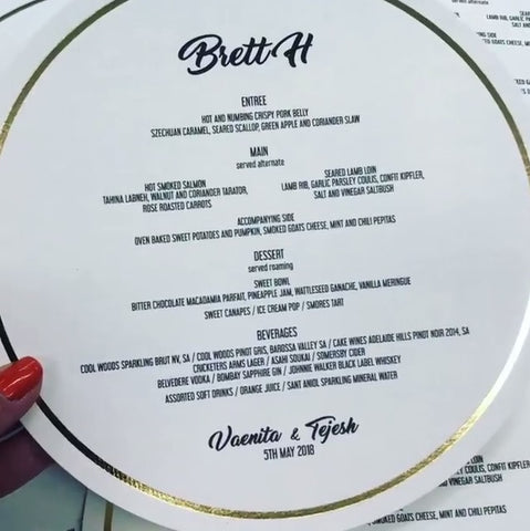 Round Menu with Foil Border