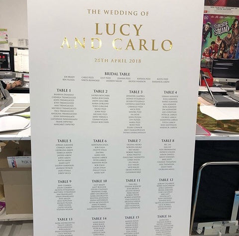 1W.  Lucy & Carlo Seating Chart