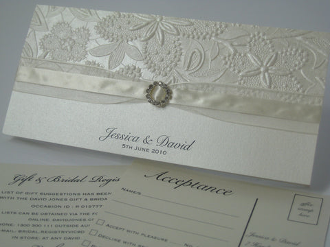 Ivory Embossed Bloom - Wedding Invitation