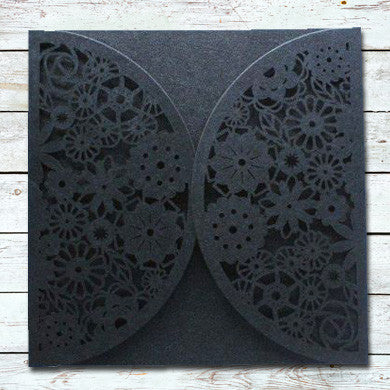 Laser Cut Floral Love Wrap - Black