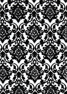 Damask black flock / white pearl 150gsm A4 Paper