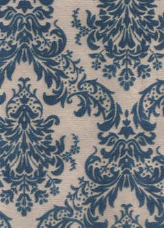 Blue Flocked Damask On Beige 120gsm A4 Paper