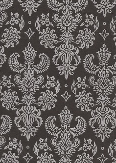 Damask Foils Silver On Black 100gsm A4 Paper