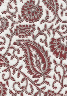 Paisley Red Glitters On White 70gsm A4 Paper