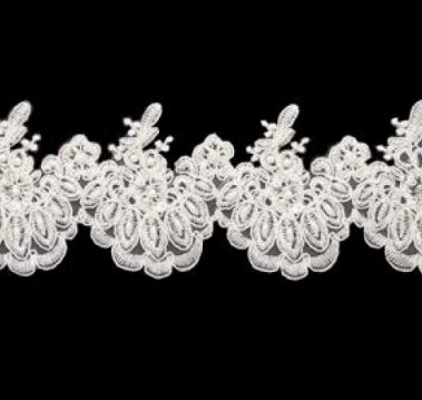 Peals On Ivory Beaded 78mm Width Lace Trim