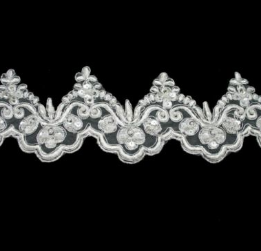 Peals On Ivory Beaded 88mm Width Lace Trim