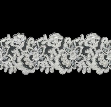 Ivory Floral Beaded 80mm Width Lace Trim