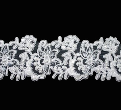 White Floral Beaded 80mm Width Lace Trim