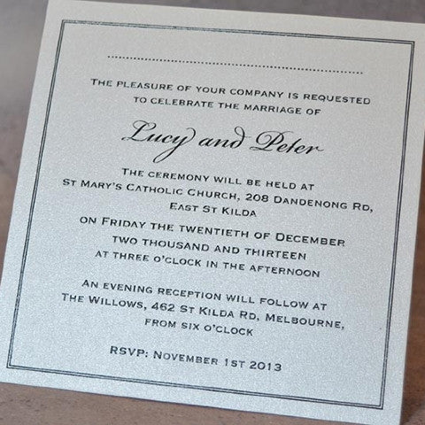 Simple Sophistication -  Wedding Invite