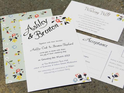 2A.  Simply Flowers Wedding Invitation
