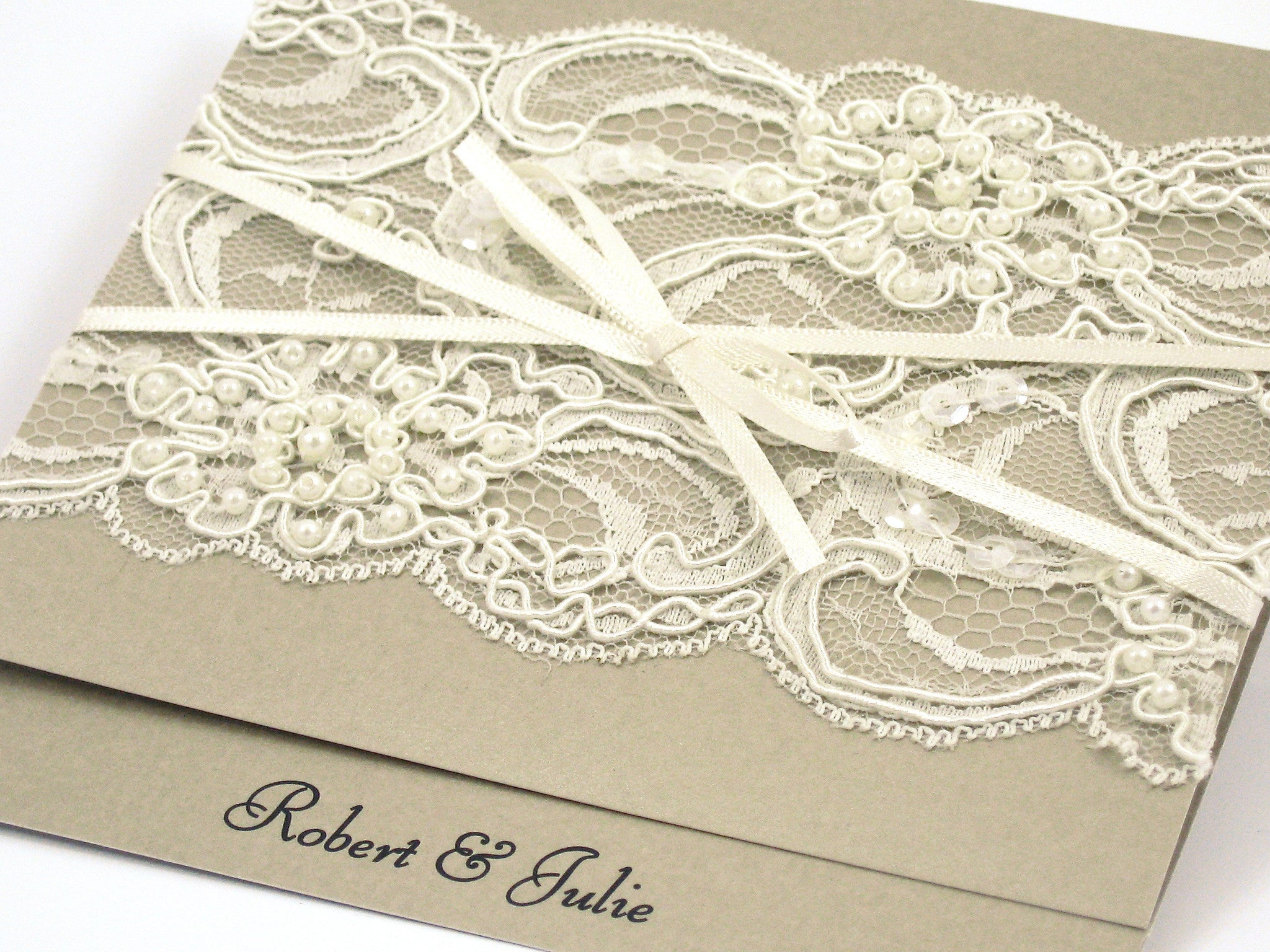 Mink and Ivory Lace - Lace Wedding Invitations Melbourne