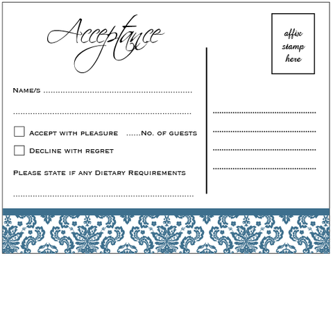 Blue Damask Square Fold - RSVP
