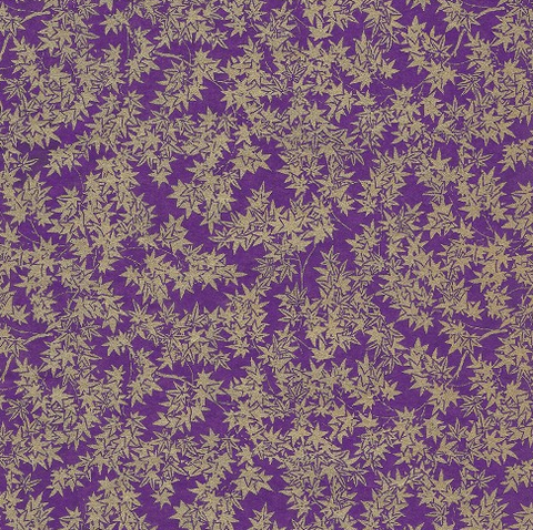 Chiyogami Gold Maple Leaves on Purple 70gsm A4 Paper