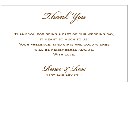 Bronze Goddess - Thank You Card